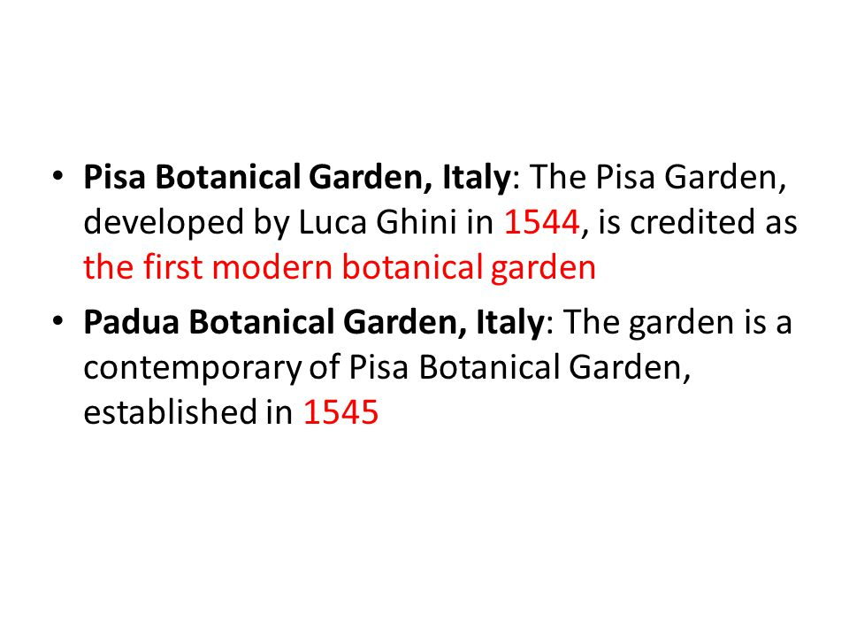 Pisa Botanical Garden, Italy: The Pisa Garden, developed by Luca Ghini in 1544, is credited as the first modern botanical garden