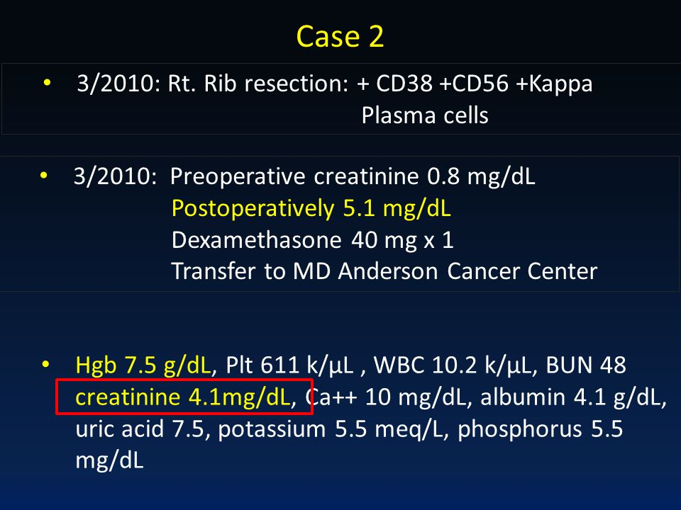 Case 2 3/2010: Rt. Rib resection: + CD38 +CD56 +Kappa Plasma cells