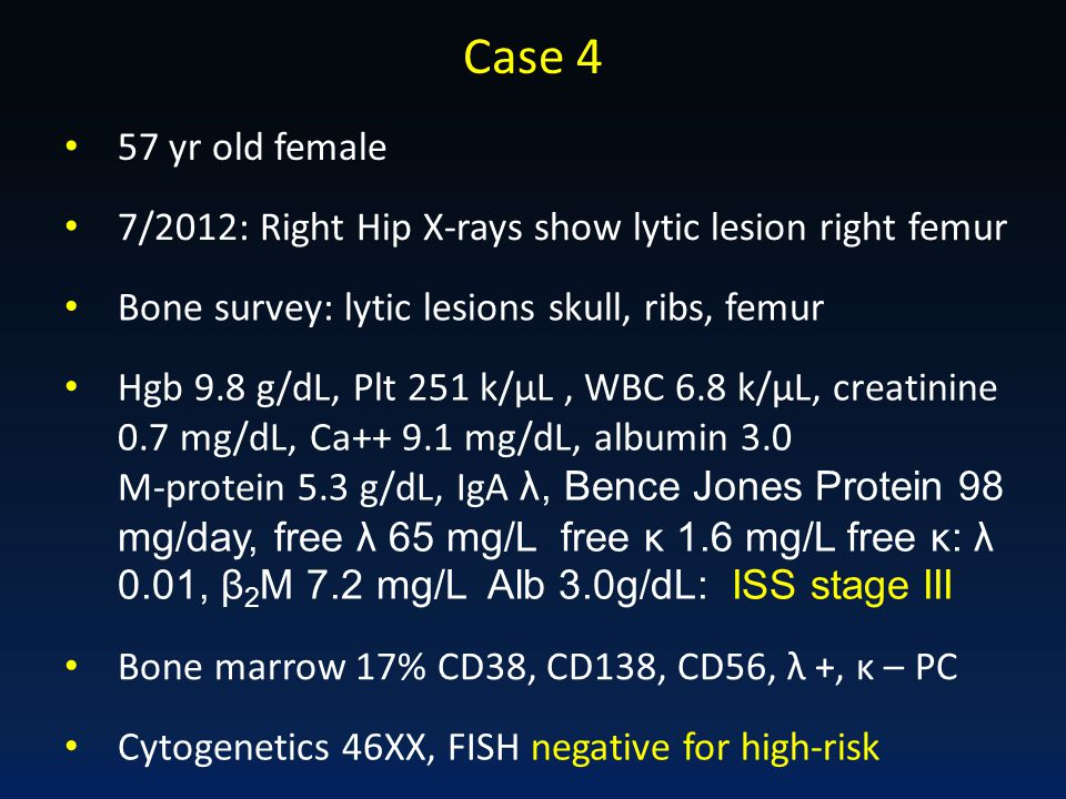 Case 4 57 yr old female. 7/2012: Right Hip X-rays show lytic lesion right femur. Bone survey: lytic lesions skull, ribs, femur.