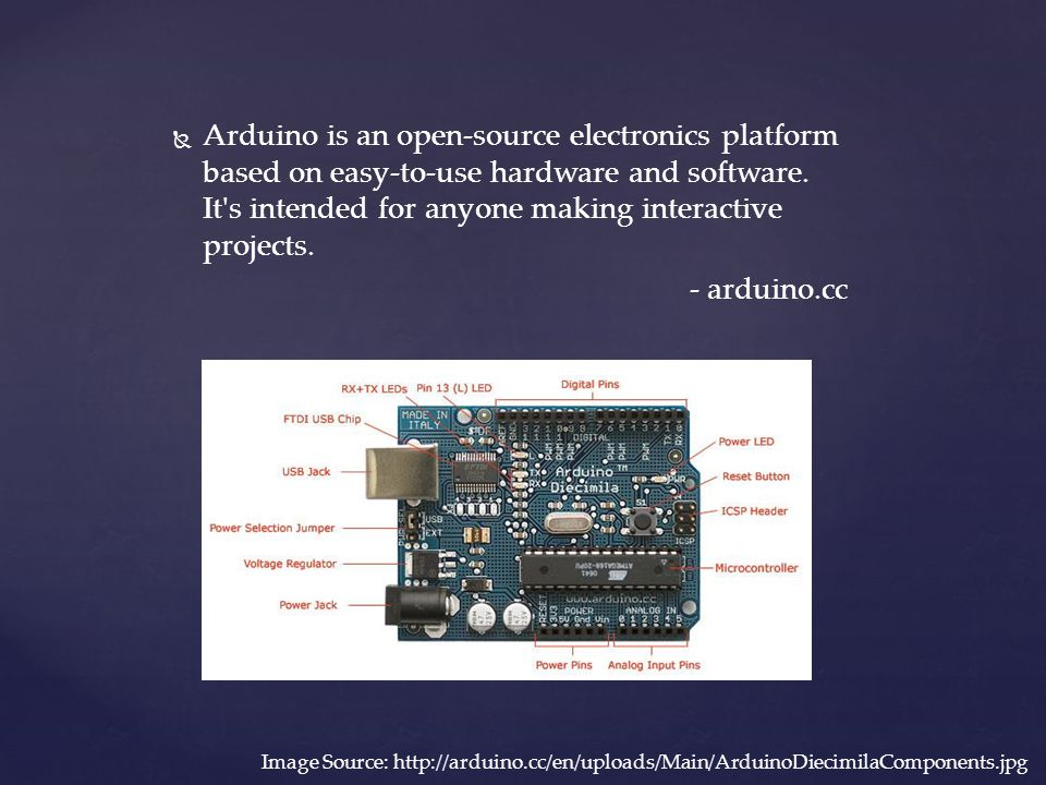 Arduino is an open-source electronics platform based on easy-to-use hardware and software. It s intended for anyone making interactive projects.