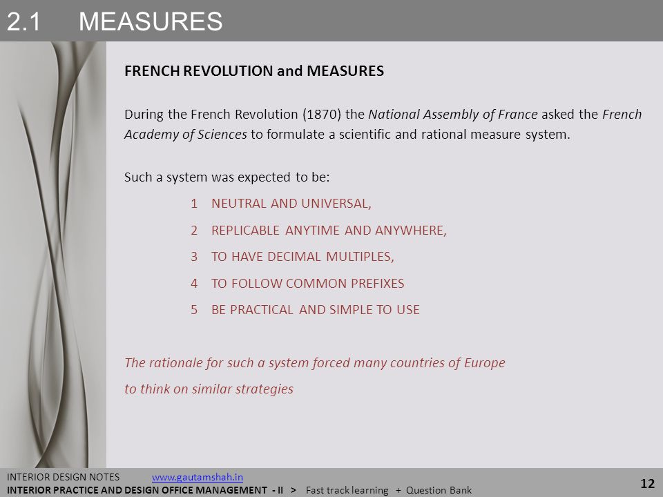 2.1 MEASURES FRENCH REVOLUTION and MEASURES