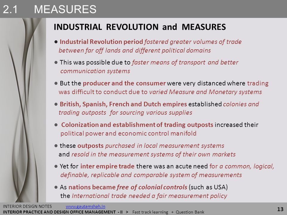 2.1 MEASURES INDUSTRIAL REVOLUTION and MEASURES