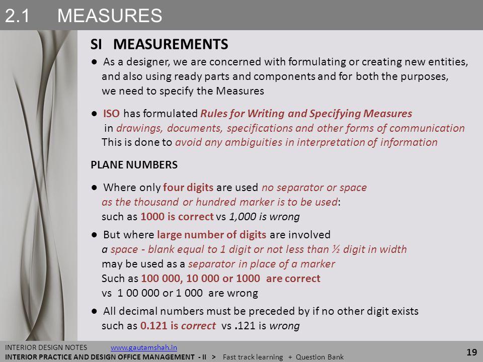 2.1 MEASURES SI MEASUREMENTS