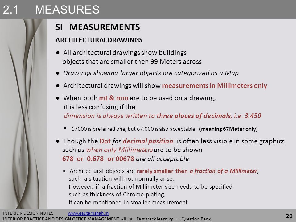 2.1 MEASURES SI MEASUREMENTS ARCHITECTURAL DRAWINGS