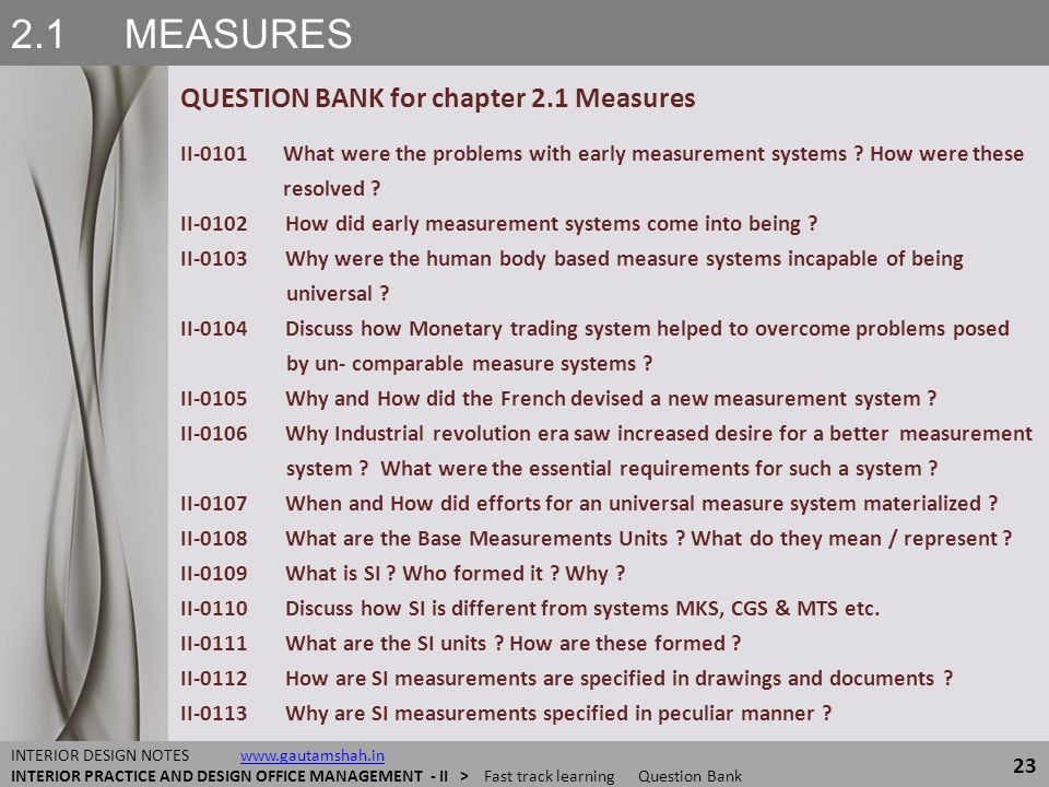 2.1 MEASURES QUESTION BANK for chapter 2.1 Measures