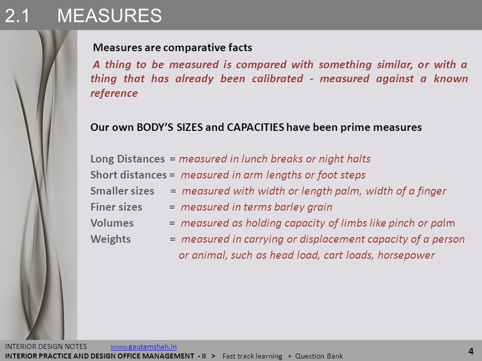 2.1 MEASURES Measures are comparative facts