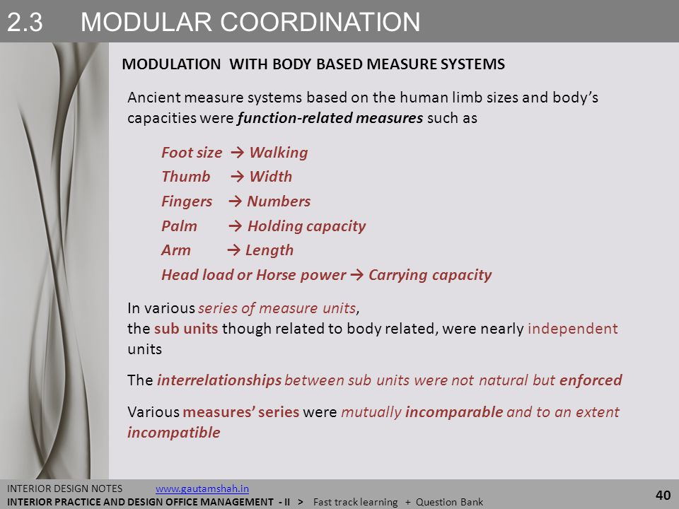 2.3 MODULAR COORDINATION MODULATION WITH BODY BASED MEASURE SYSTEMS