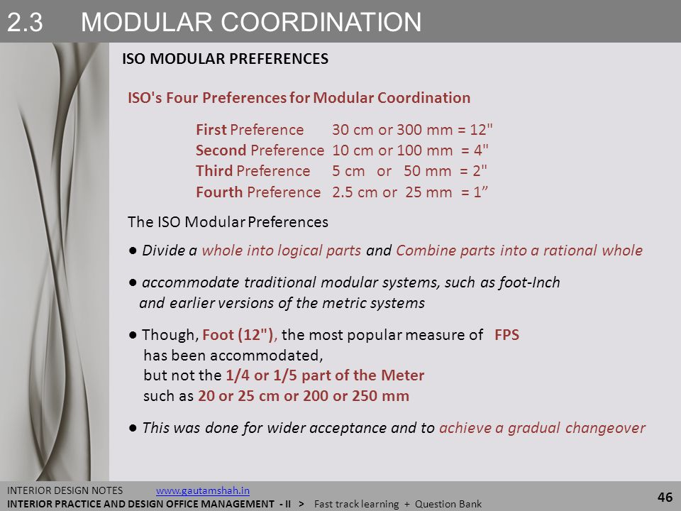 2.3 MODULAR COORDINATION ISO MODULAR PREFERENCES