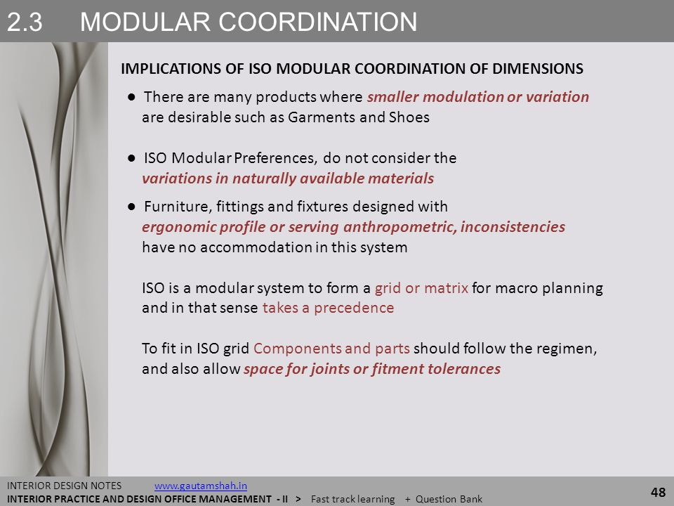 2.3 MODULAR COORDINATION IMPLICATIONS OF ISO MODULAR COORDINATION OF DIMENSIONS.
