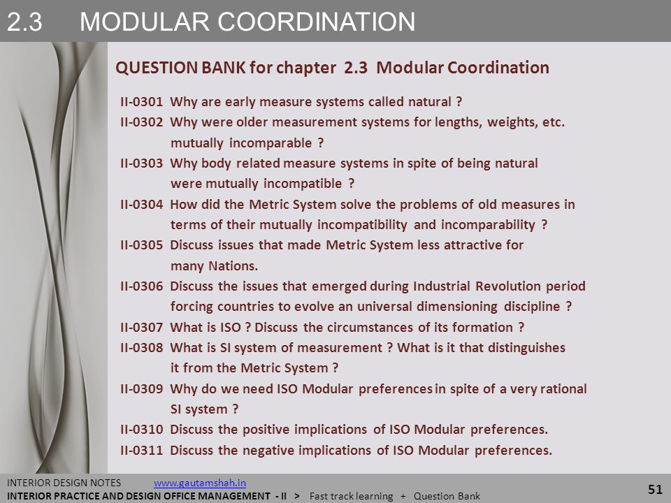 2.3 MODULAR COORDINATION QUESTION BANK for chapter 2.3 Modular Coordination. II-0301 Why are early measure systems called natural