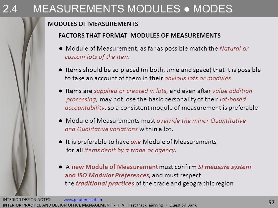 2.4 MEASUREMENTS MODULES ● MODES