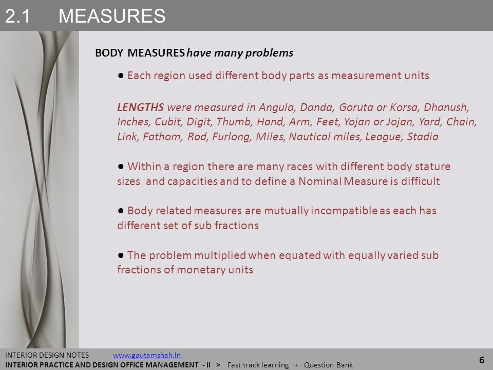 2.1 MEASURES BODY MEASURES have many problems