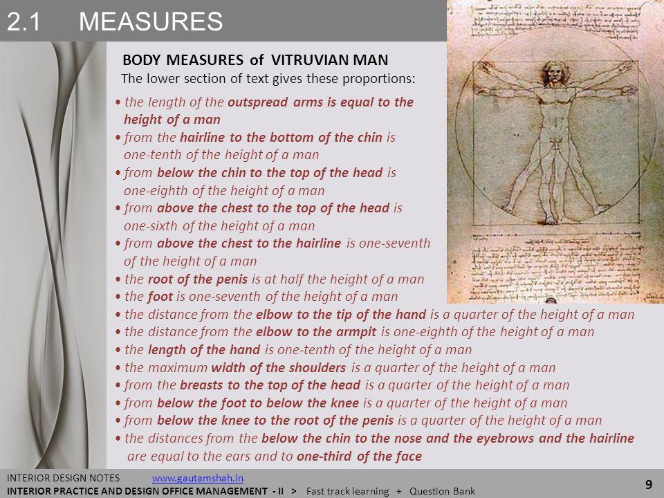 2.1 MEASURES BODY MEASURES of VITRUVIAN MAN