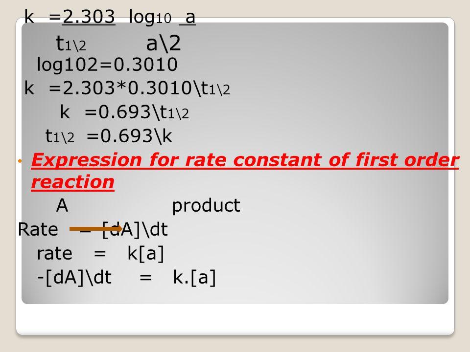 t1\2 a\2 k =2.303 log10 a log102=0.3010 k =2.303*0.3010\t1\2