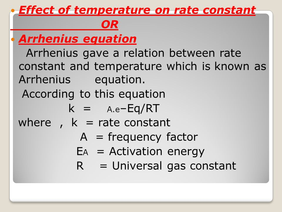 Effect of temperature on rate constant