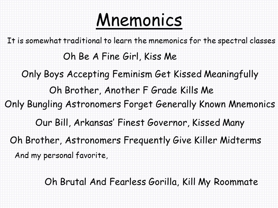 Mnemonics Oh Be A Fine Girl, Kiss Me