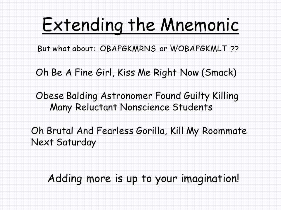 Extending the Mnemonic