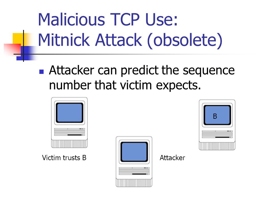 Malicious TCP Use: Mitnick Attack (obsolete)