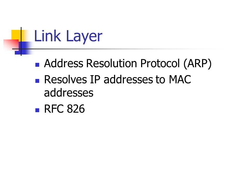 Link Layer Address Resolution Protocol (ARP)