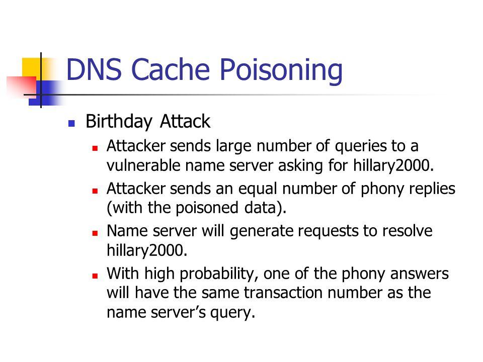 DNS Cache Poisoning Birthday Attack