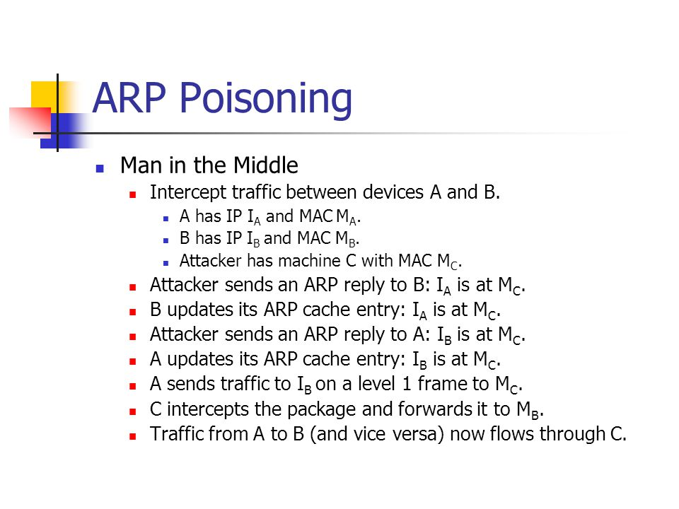 ARP Poisoning Man in the Middle
