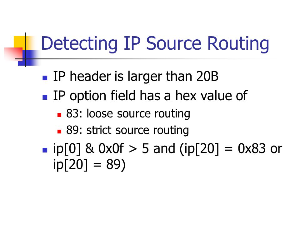 Detecting IP Source Routing