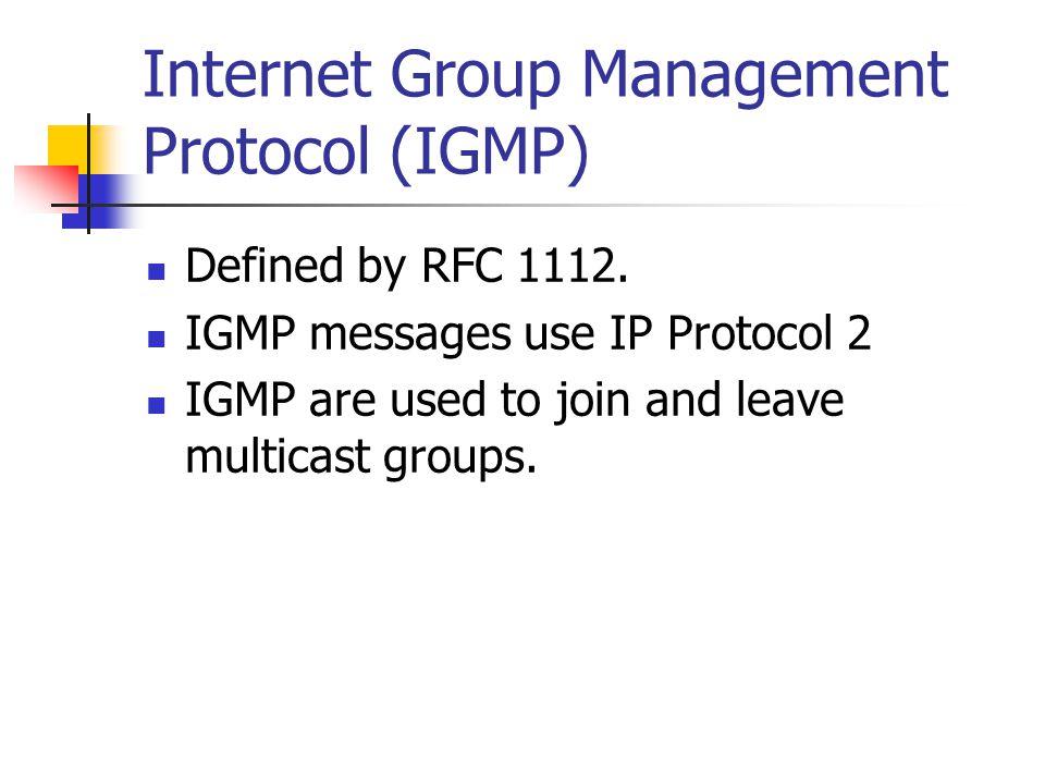Internet Group Management Protocol (IGMP)