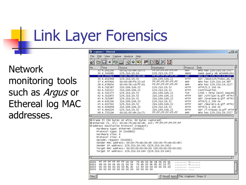 Link Layer Forensics Network monitoring tools such as Argus or Ethereal log MAC addresses.