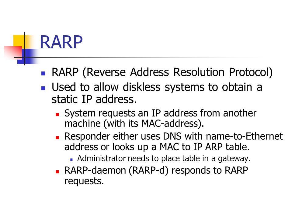 RARP RARP (Reverse Address Resolution Protocol)