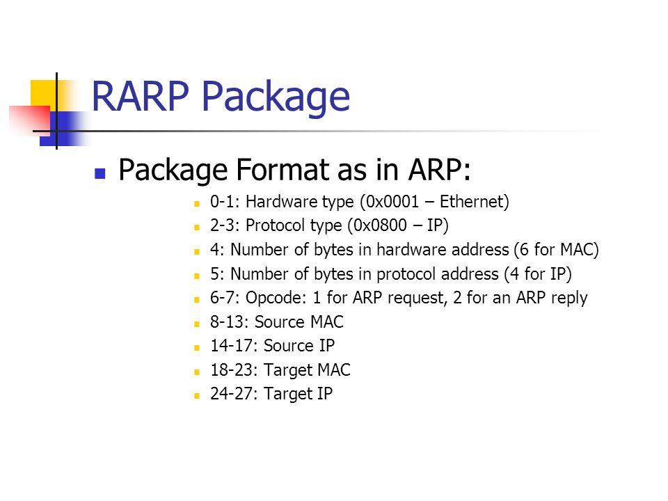 RARP Package Package Format as in ARP: