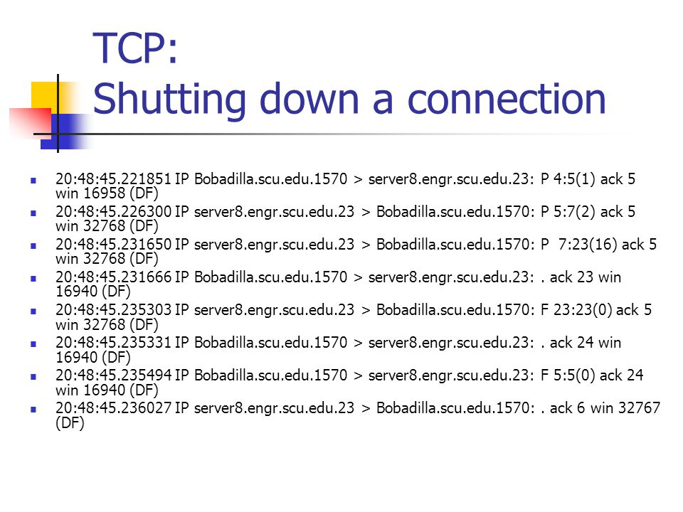 TCP: Shutting down a connection