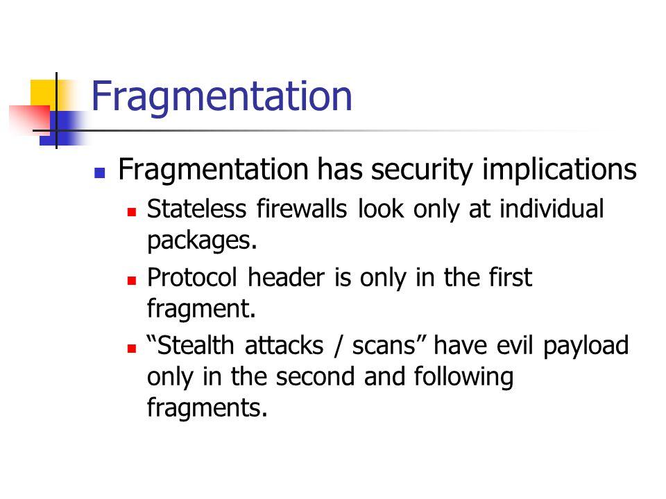 Fragmentation Fragmentation has security implications