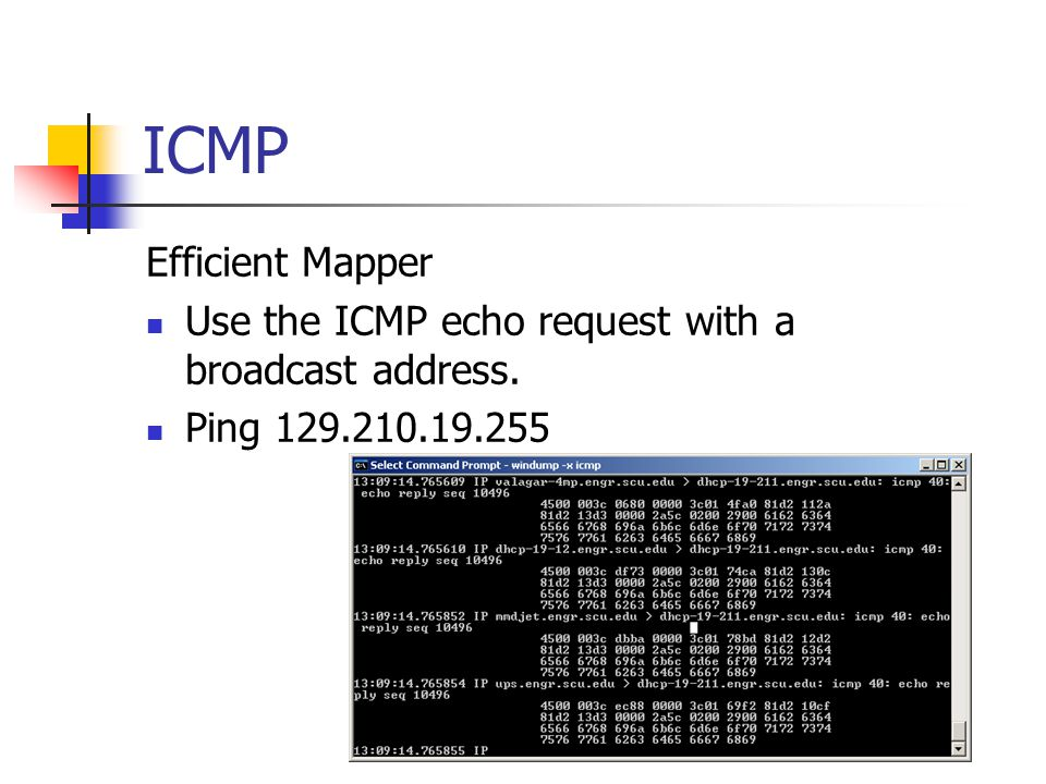 ICMP Efficient Mapper Use the ICMP echo request with a broadcast address. Ping 129.210.19.255