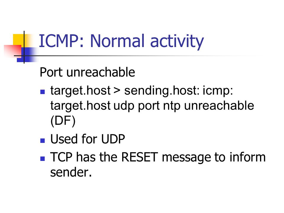 ICMP: Normal activity Port unreachable