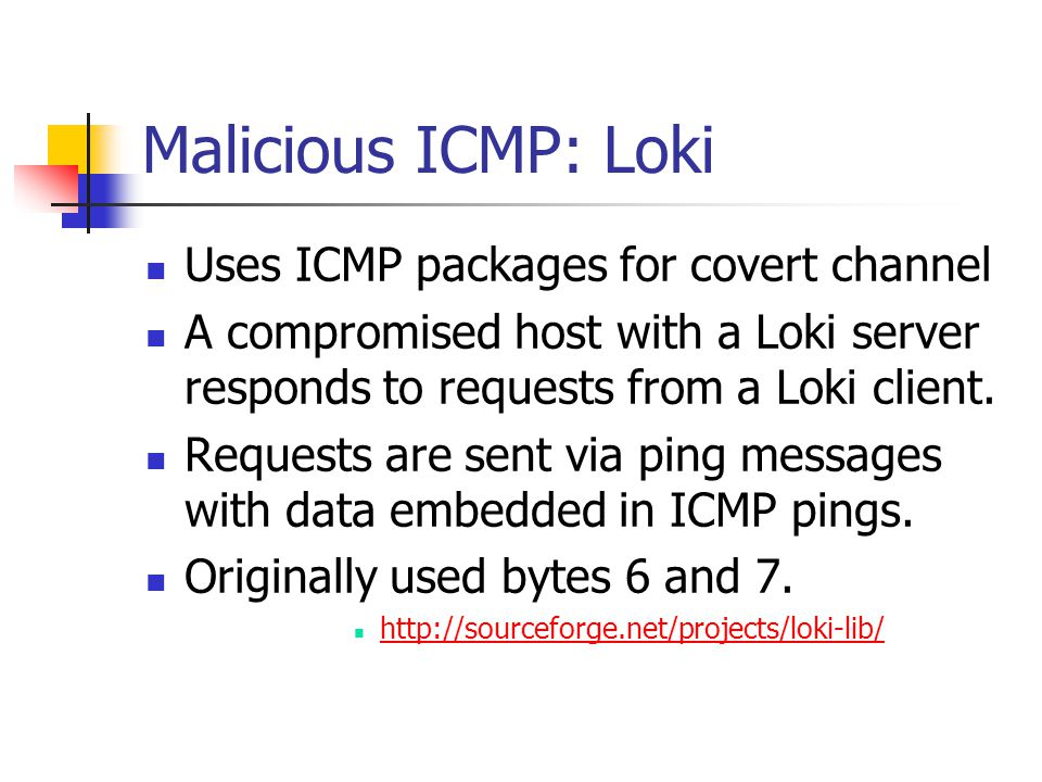 Malicious ICMP: Loki Uses ICMP packages for covert channel