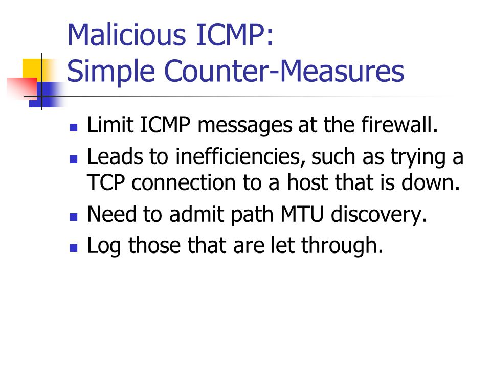 Malicious ICMP: Simple Counter-Measures