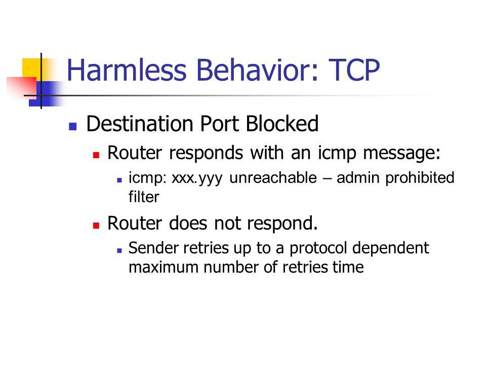 Harmless Behavior: TCP