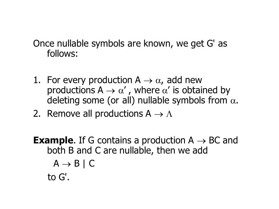 Once nullable symbols are known, we get G as follows: