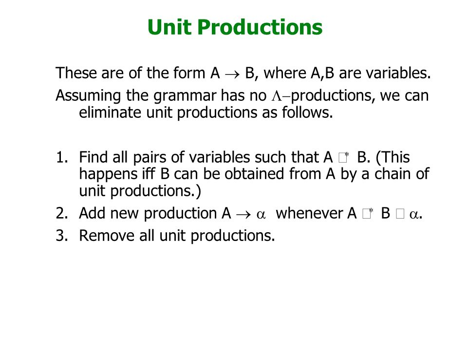 Unit Productions These are of the form A ® B, where A,B are variables.