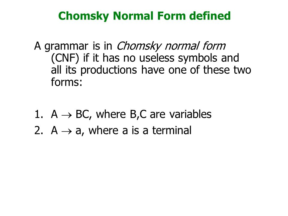 Chomsky Normal Form defined