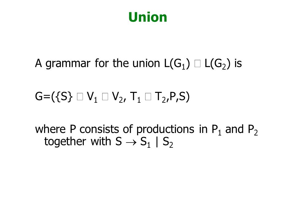 Union A grammar for the union L(G1) È L(G2) is