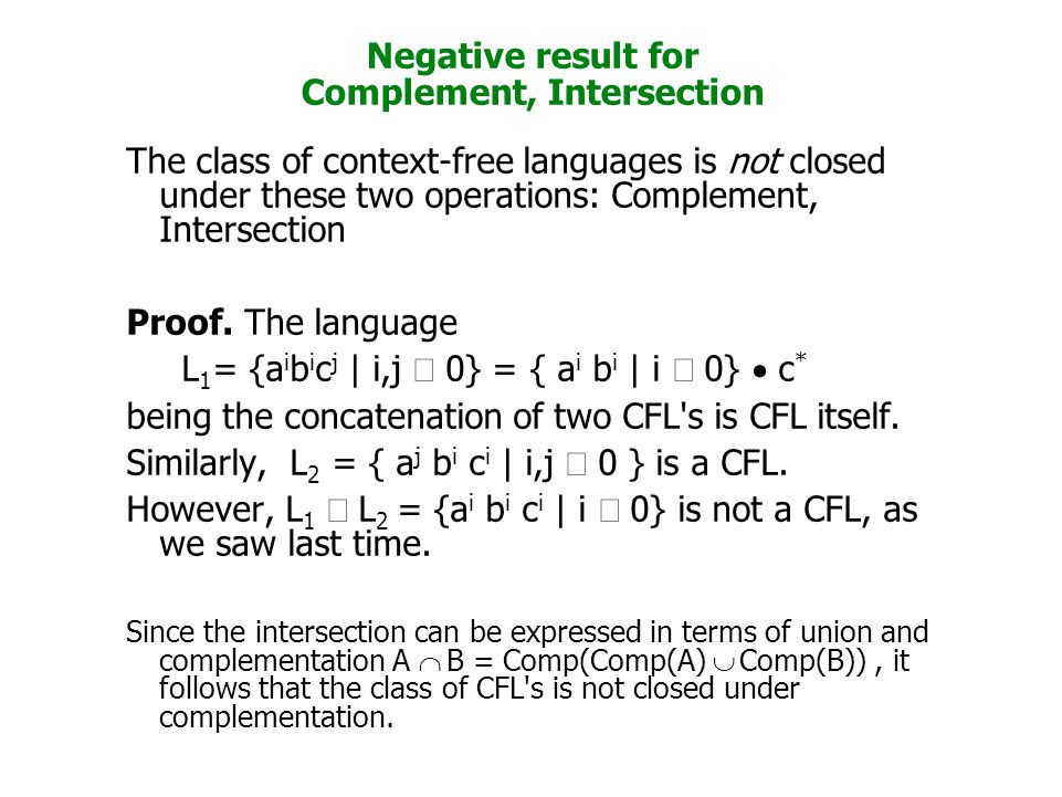 Negative result for Complement, Intersection