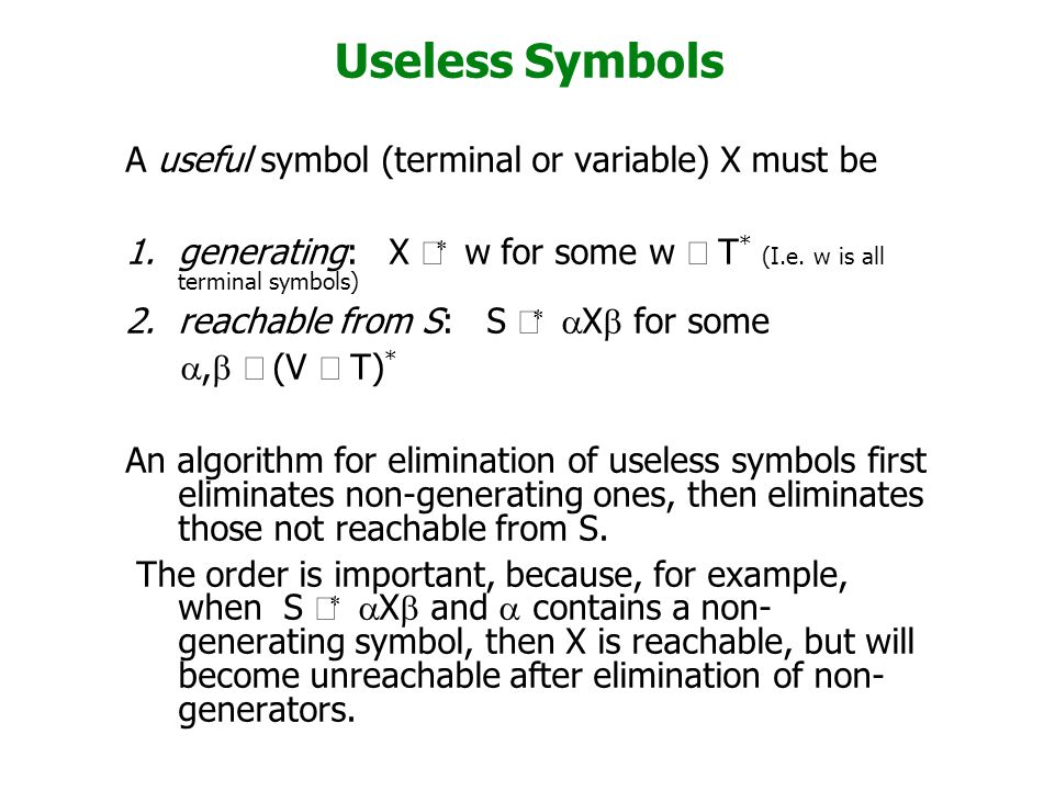 Useless Symbols A useful symbol (terminal or variable) X must be