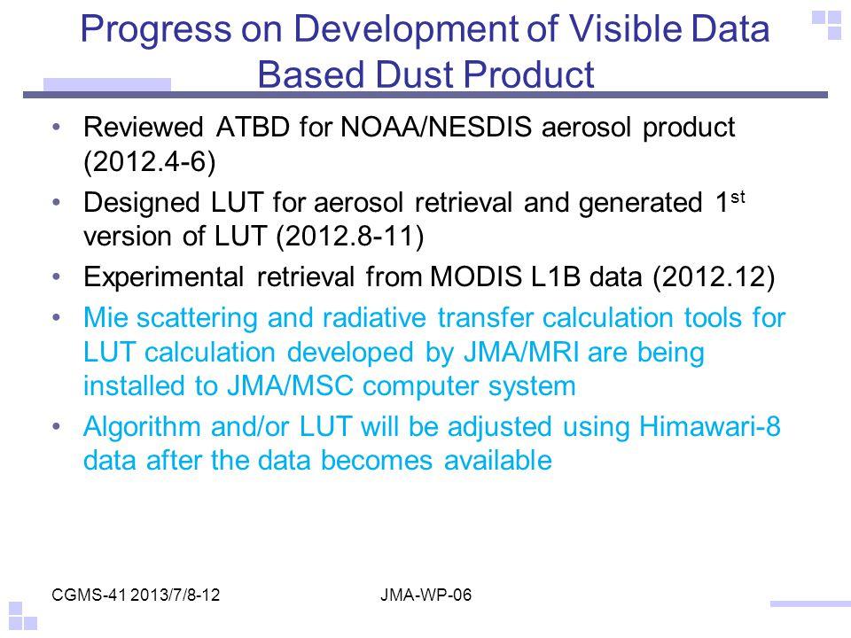 Progress on Development of Visible Data Based Dust Product