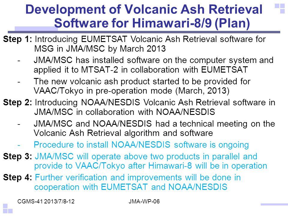 Development of Volcanic Ash Retrieval Software for Himawari-8/9 (Plan)