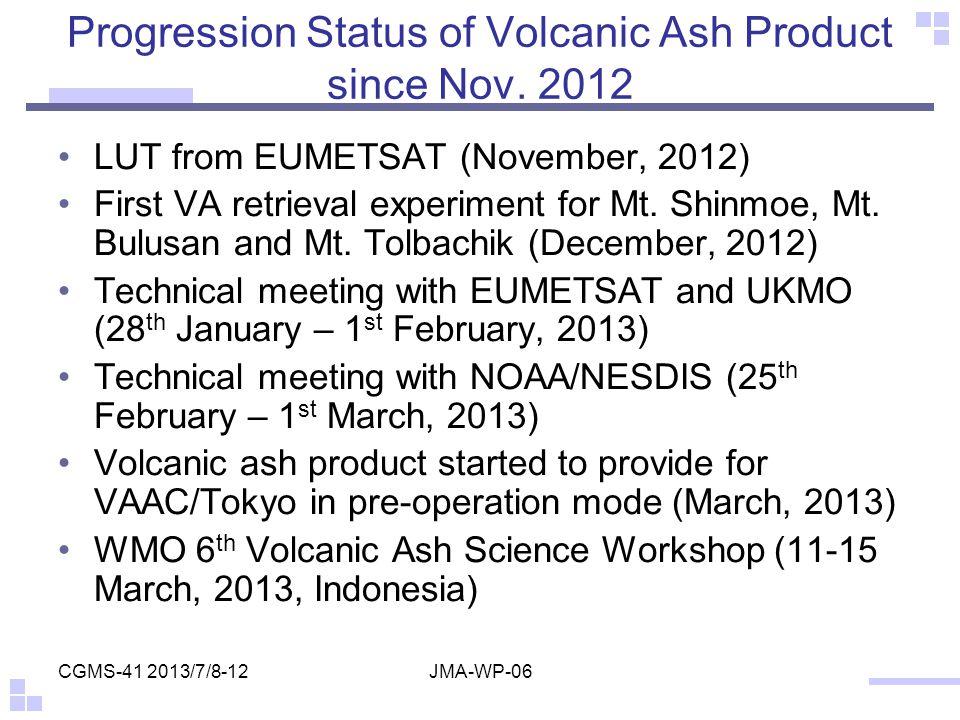 Progression Status of Volcanic Ash Product since Nov. 2012