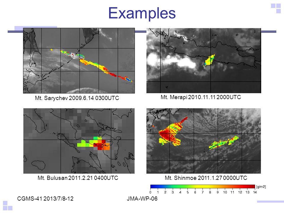 Examples Mt. Sarychev 2009.6.14 0300UTC Mt. Merapi 2010.11.11 2000UTC