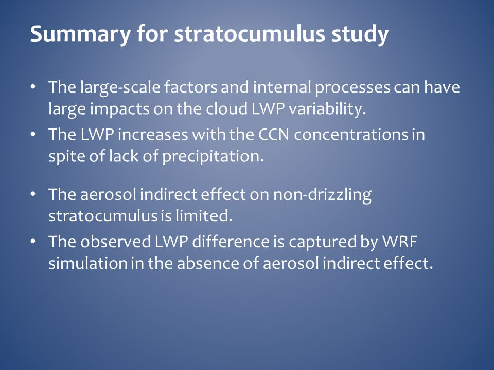 Summary for stratocumulus study