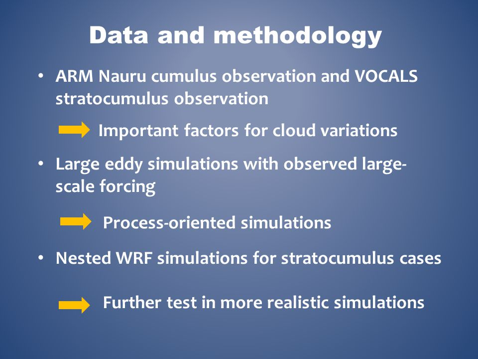 Data and methodology ARM Nauru cumulus observation and VOCALS stratocumulus observation. Important factors for cloud variations.