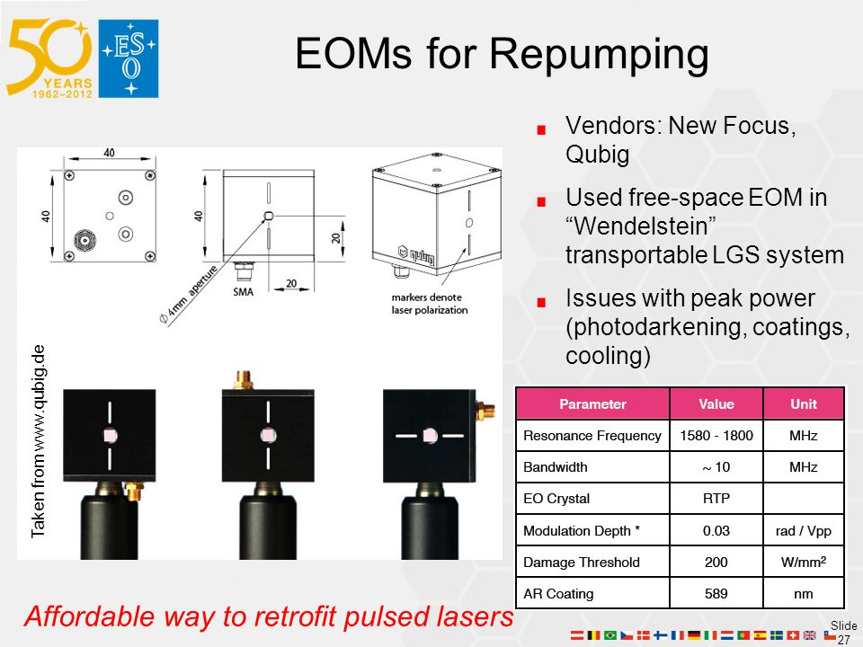 EOMs for Repumping Affordable way to retrofit pulsed lasers